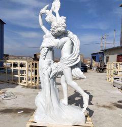 Im Freien Marmorstatue-Stein-Skulptur Gartenapollo-Daphne weiße