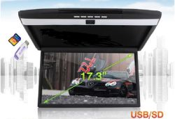 Vcan1329 17.3인치 고해상도 스크린 차량 플립다운 루프 마운트 LCD MP5 HDMI USB SD로 모니터링합니다