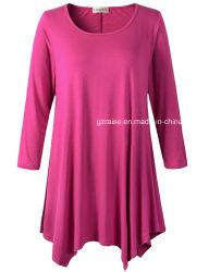 Les femmes Plus Size tunique 3/4 manchon plaine Tops Fashion Shirt