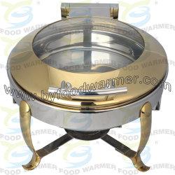 Chafer del piedino dell'amo - piatto di logoramento rotondo dorato dell'acciaio inossidabile 304 con vetro