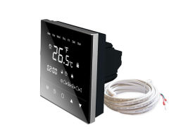 Superficie nera dello specchio del termostato dello schermo di tocco del comitato per il riscaldamento di pavimento con il disegno di Eco