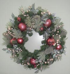 """30"""" a coroa de plantas de Pinus artificial com ornamentos Faux Berry Pinecone Rosa para Decoração de Natal"""