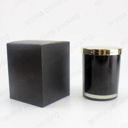 De conception OEM pour bougie en verre de couleur noir brillant Jar avec boîte de papier