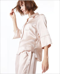 Design personalizado Half-Long a Luva de Desgaste do sono de mulheres de Inverno 100% Pijama de seda