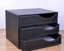高品質の取り外し可能な引出しが付いているデスクトップのイミテーション・レザーおよび木製のファイルストレージボックス