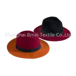 بالجملة [مولتيكلور] شتاء شريط [تريم بند] 100% يقصّر صوف [فلت] حافة أسود قبعة سوداء مستديرة [كلوش] قبّعة لأنّ نساء