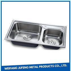 Dispersore di cucina della vasca di Undermount dell'acciaio inossidabile dell'angolo rotondo 304 doppio