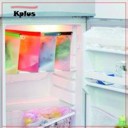 Grau alimentício estanques grandes embalagens de produtos hortícolas frescos Zipper congelador de Silicone reutilizáveis preservação de alimentos sacos de armazenamento com temporizador