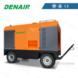 Libre de aceite pesado Diesel Industrial portátil de doble tornillo rotativo tipo compresor de aire para la perforación