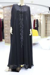 Cordon noir Manchon long Maxi robe en mousseline musulmane avec Capehaving amovible Robe de Dubaï femmes islamique