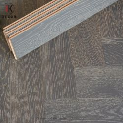 Pavimentazione di legno costruita stile Herringbone russo grigio solido della quercia di colore della superficie del legname