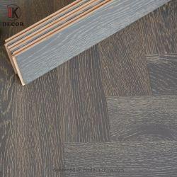 Pavimentazione di legno costruita stile Herringbone russo grigio della quercia di colore della superficie di legno solido