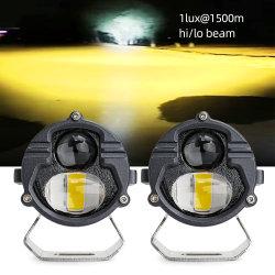 1 ルクス( 1500 m 60 W 3 インチ、 3 色補助ランプハイロービーム 白黄色レンズ霧灯オフロードモーターサイクルカーミニレーザー トヨタの LED ドライビングライト