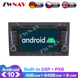 Android 10.0 4+64GB Car Multimedia DVD Player Radio for Audi A4 S4 RS4 2003-12 GPS ナビゲーションヘッドユニット PX6 DSP 自動ステレオオーディオビデオ