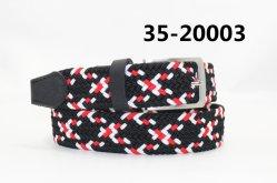 100% algodão durável dos homens trançado Espinha de Peixe correia elástica com PU ou ponta de couro 35-20003