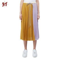 Nuevo estilo de la cintura con cordón de seda multicolor Brend Damas falda