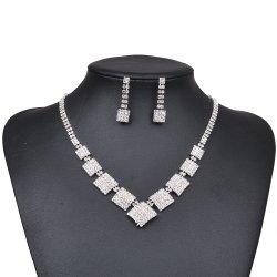 은 모조 다이아몬드 인도 목걸이 귀걸이 고정되는 가짜 보석