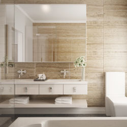 Oppein Australia Villa Modern White Lacquer Double Bathroom Vanity (Bc15-L03)