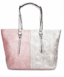 La Chine usine OEM Faire Fashion Lady sac à main avec deux couleurs mélangées sac fourre-tout Mesdames les sacs à main