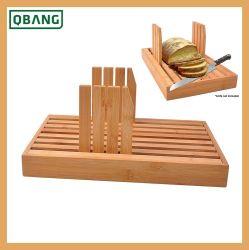 Alta calidad de bambú ecológico tabla de cortar el pan, pan Pizza sirviendo a bordo, el cortador de pan con la guía de corte ajustable