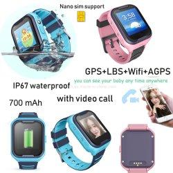 IP67는 영상 외침 D49를 가진 시계를 추적해 다중 언어 4G 아이 GPS를 방수 처리한다