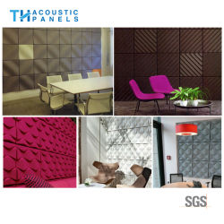 Llama Retartant Fibra de poliéster de decoración de interiores 3D de la Junta acústica para el panel de pared