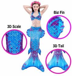 Les enfants filles Mermaid Queues avec Fin maillot de bain Bikini 4PCS Maillot de bain robe pour les filles d'usure de natation