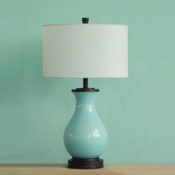 Tissu bleu de la céramique et de l'ombre Fluorescent lampe de bureau avec prise USB de l'alimentation