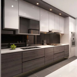 方法食器棚の光沢度の高い食器棚の台所
