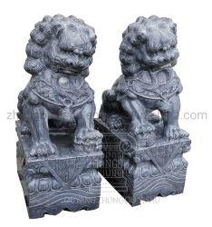 庭の装飾の大理石の彫刻の中国のライオンの黒いFoo犬の彫像
