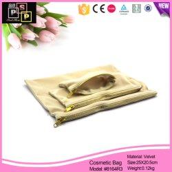 Portátil personalizada bolsa con cremallera lienzo la belleza de la bolsa de cosméticos Bolsa (8,164)