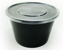 500ml, 650ml, 750ml, schwarzer runder Wegwerfplastiknahrungsmittelbehälter mit Kappe