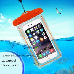 PVC携帯電話のタッチスクリーンの移動式iPhone 6水証拠の水中透過袋袋のための明るい防水電話箱カバー