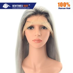 100% Human Hair Fashion Lady Two Tone Grey Color Lace Front Wig