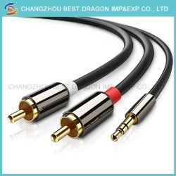 3.5Mm 2Transfert audio RCA connecteur calculateur de boîte vocale mobile câble auxiliaire de conversion