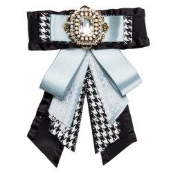 Großhandelsgewebe-Bogen-Brosche-Schmucksachen Tussores Silk Bowknot-Kristallbrosche für Frauen