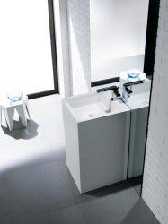 Fregadero superficial sólido de acrílico del cuarto de baño del pedestal puro de la casilla blanca