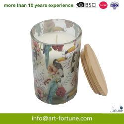 Velas Aromáticas de vidrio con papel adhesivo y cubierta de madera de fiesta