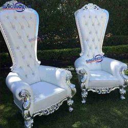 ホテルの高貴な木の女王の骨董品のThrone Chair古典的な結婚式王