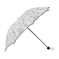 De wind blauw-en-Witte Afgedrukte Paraplu van de Bloem Chinoiserie Patroon