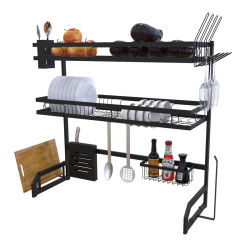 201 acero inoxidable 2-tier Dish Rack con soporte multimedia, encimera de utensilio Non-Slip, negro