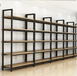 Het staal sorteert Rek van de Plank van de Vertoning van de Steekproef van het Boekenrek van de Combinatie van de Buis van Platen het Houten Moderne Multi-Layer
