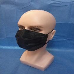 Maschera di protezione non tessuta nera chirurgica medica a gettare 3ply