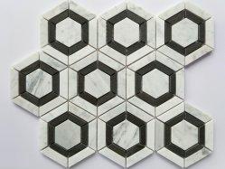 Zwart-wit Carrara rond Bai Tianran de Marmeren Tegels van het Mozaïek voor het Mozaïek van de Steen van het Glas van de Muur/Marmer Steen/het Marmer van Amabuye Ya/Vato Marbra/