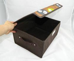Lienzo cubo plegable estructura de almacenamiento de verificación para el libro de tela Juguetes Artículos diversos, con dos asas