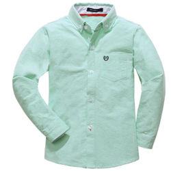 Chemisier en coton oxford OEM Kids White Boy tee-shirts manches longues