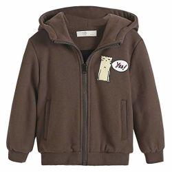 Peu d'Boys' Hoodie Veste Zipper Outwear coupe-vent manteau chaud pour les enfants de 2-7