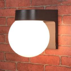 Loft moderno porche exterior LED de luz, la Base de PC en blanco y negro acrílico Lampshade lechoso E27 al aire libre de bola de arriba hacia abajo Lampara de pared