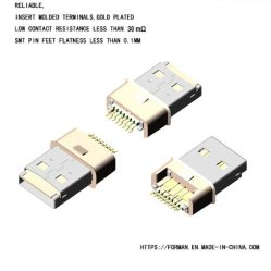 USB 2.0 Am SMT Schakelaar 12pin van het Type met de Groef van de Kaart van BR