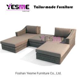 Outdoor Patio Jardin meubles en rotin de mentir de chaises en osier Chaise longue de lit de plage